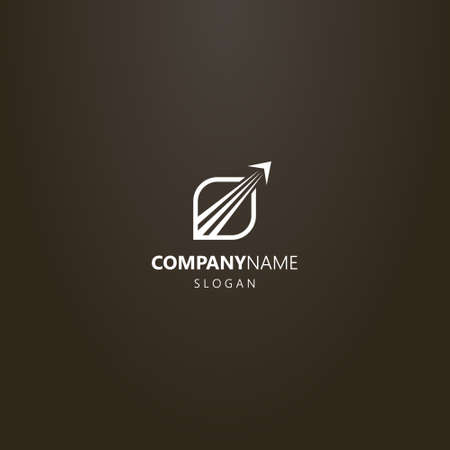 white logo on a black background. simple abstract line art vector logo of taking off airplane in a leaf frame