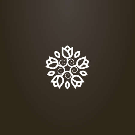 white sign on a black background. simple line art vector round sign of flower wreath of five flowers