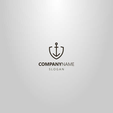 black and white simple vector line art geometric logo of iron anchor in shield shaped frame
