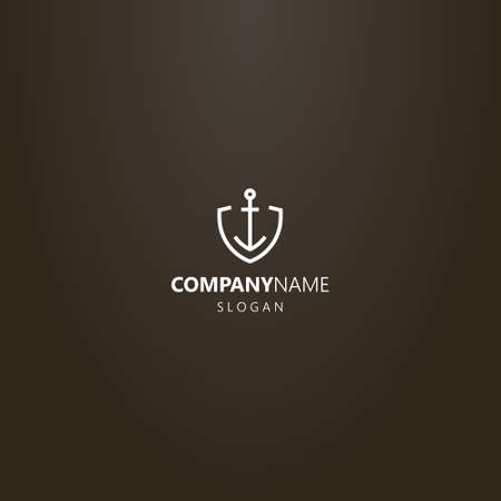 white logo on a black background. simple vector line art geometric logo of iron anchor in shield shaped frame