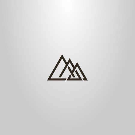 black and white simple vector line art sign of three interlaced triangles