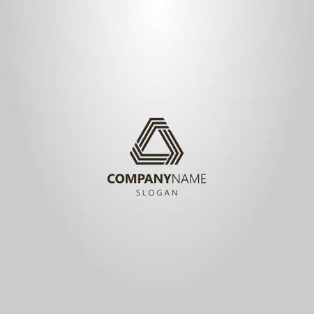 black and white simple vector line art logo modern futuristic triangular structure of three lines with obtuse angles