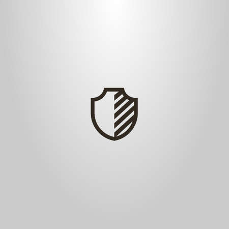 black and white simple vector line art sign of a medieval half-striped shield