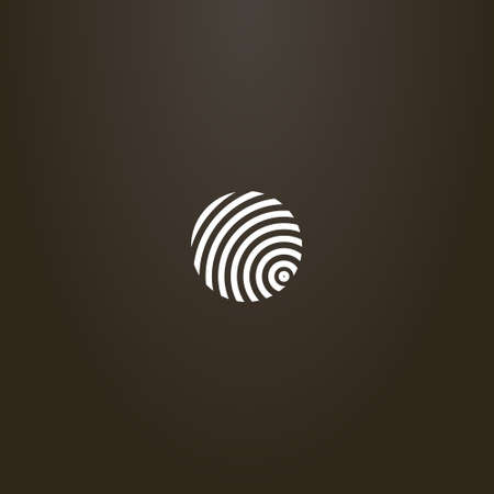 white sign on a black background. simple vector minimalistic round sign of divergent circles similar to a fingerprint
