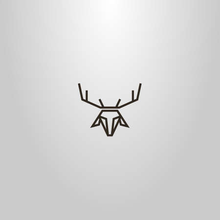 black and white simple outline vector line art sign of a deer or doe head