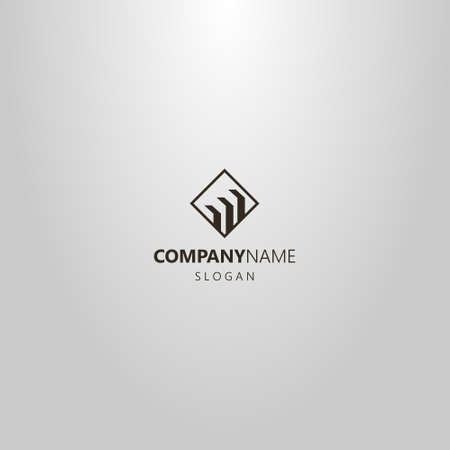 black and white simple vector flat art logo of three rectangular shapes in a diamond frame