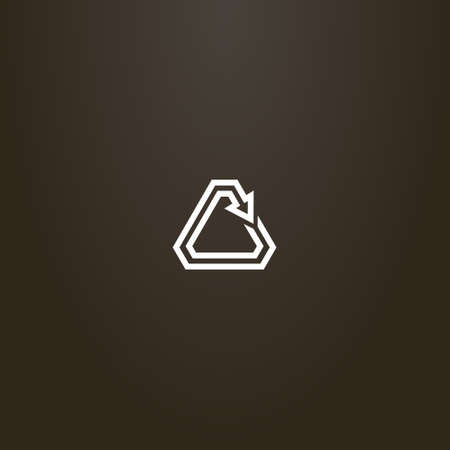 white sign on a black background. simple vector line art sign of a rotating triangular arrow