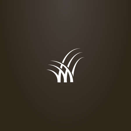 white sign on a black background. simple vector outline flat art sign of three bunches of grass