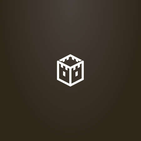 white sign on a black background. simple vector geometric line art sign of a medieval tower in the shape of a hexagon