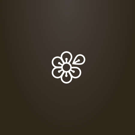 white sign on a black background. simple line art six-petal flower vector sign with one separated petal