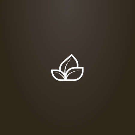 white sign on a black background. simple vector line art sign of a plant with three leaves Ilustração