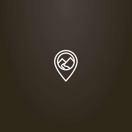 white sign on a black background. simple vector line art sign of a mountain landscape in map mark