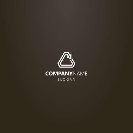 white logo on a black background. simple vector line art logo of a rotating triangular arrow Ilustração