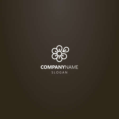 white logo on a black background. simple line art six-petal flower vector logo with one separated petal