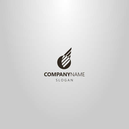 black and white simple flat art vector negative space logo of wing in a round frame