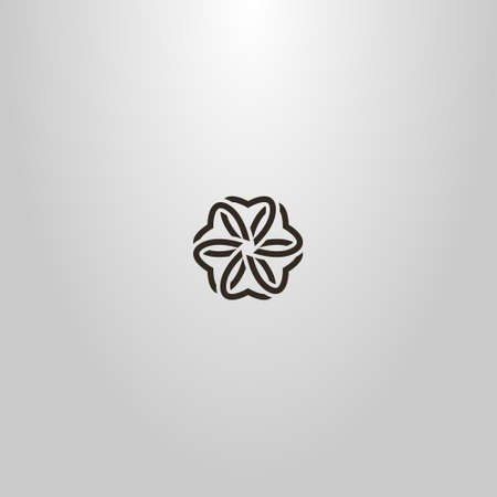 black and white simple line art vector outline sign of six-petal flower blossom
