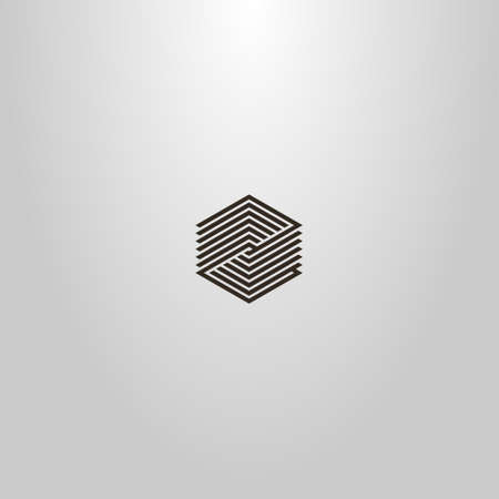 black and white simple minimalistic modern vector line art sign of striped hexagon