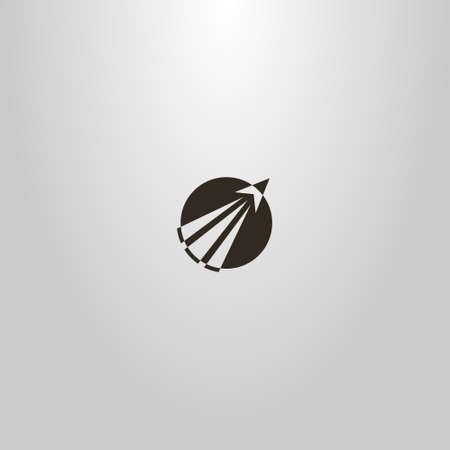 black and white simple flat art vector round negative space sign of a take-off rocket going beyond