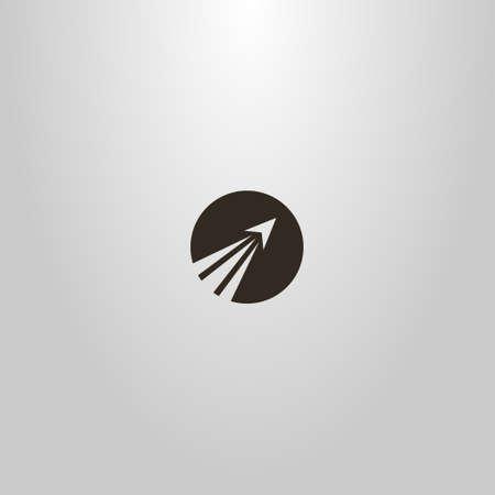 black and white simple vector round negative space sign of a rocket taking off Ilustração