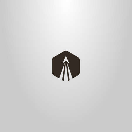 black and white simple flat art abstract vector hexagonal sign of a take-off rocket