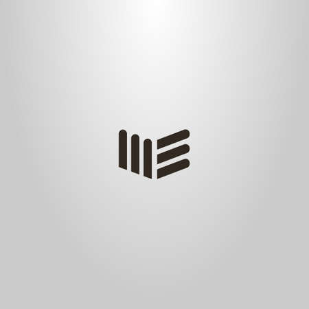 black and white simple vector abstract flat art sign of geometric shapes similar to books