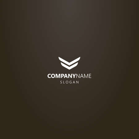 white logo on a black background. simple flat art vector abstract logo of two stripes in the form of wings