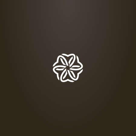 white sign on a black background. simple line art vector outline sign of six-petal flower blossom