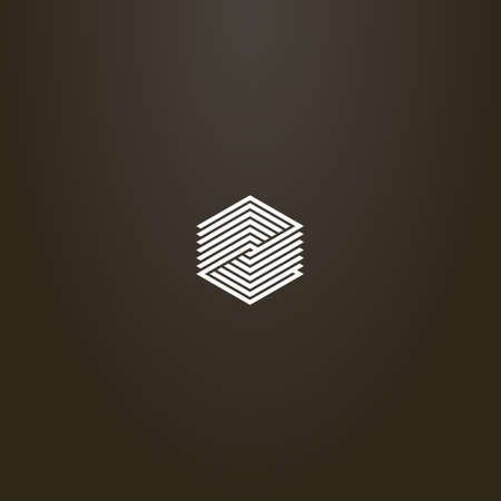 white sign on a black background. simple minimalistic modern vector line art sign of striped hexagon