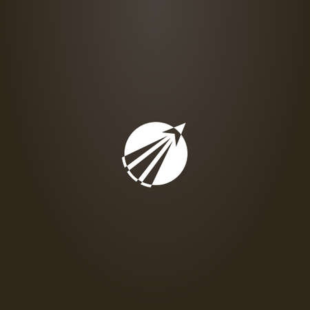 white sign on a black background. simple flat art vector round negative space sign of a take-off rocket going beyond