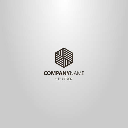 black and white simple vector line art logo of a hexagon divided into striped parts of different sizes and directions