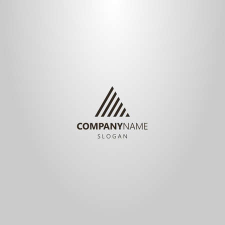 black and white simple vector minimalistic line art logo of striped triangle