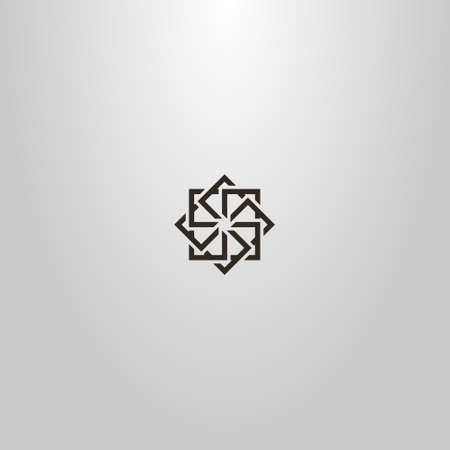 black and white simple vector line art outline sign of star of several squares