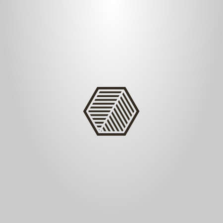 black and white simple vector line art sign of a hexagon divided into two striped parts