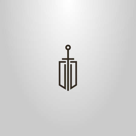 black and white simple vector modern minimalistic line art sign of sword on a shield