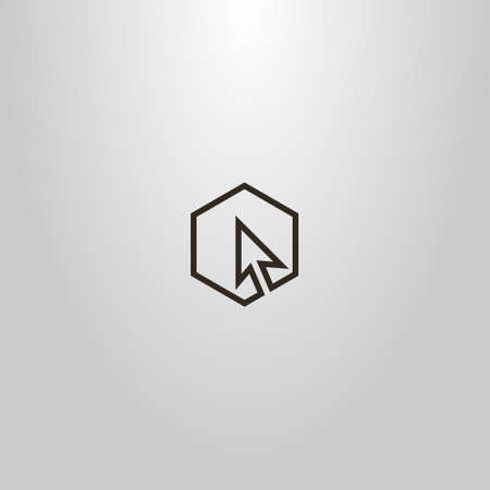 black and white simple vector minimalistic single line sign of cursor arrow in hexagonal frame