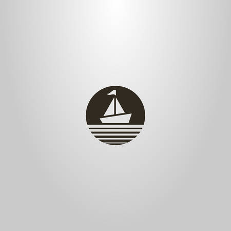 black and white simple vector minimalistic negative space round sign of a sailing ship with a flag