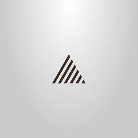 black and white simple vector minimalistic line art sign of striped triangle Ilustração