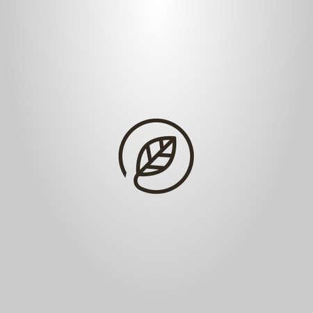 black and white simple vector minimalistic line art sign of leaf in a round frame Ilustração