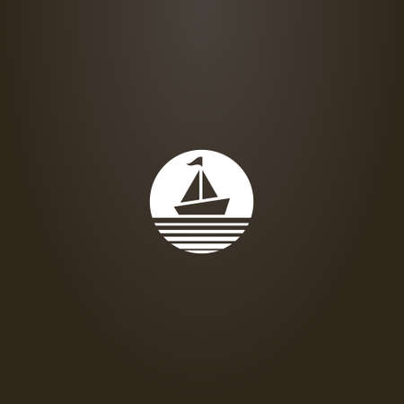 white sign on a black background. vector minimalistic negative space round sign of a sailing ship with a flag
