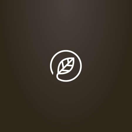 white sign on a black background. vector minimalistic line art sign of leaf in a round frame Ilustração