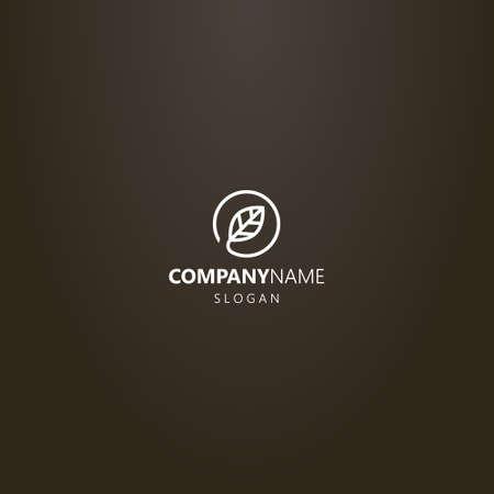 white logo on a black background. vector minimalistic line art logo of leaf in a round frame Ilustração