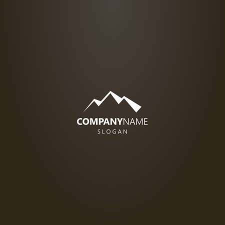 white logo on a black background. simple vector flat art logo of three mountains peaks silhouette
