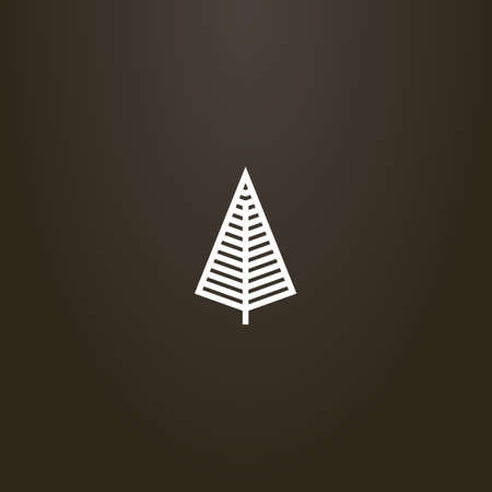 white sign on a black background. simple vector line art geometric sign of diamond tree silhouette