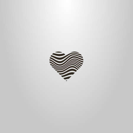 black and white simple vector sign of curved wavy lines in the shape of a heart
