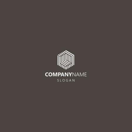 white logo on a black background. simple vector abstract geometric iconic logo of hexagonal construction Ilustração