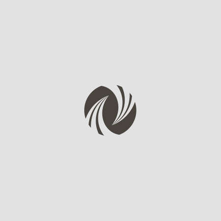 black and white simple vector geometric negative space round sign of two twists directed at each other Иллюстрация