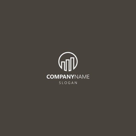 white logo on a black background. simple vector line art geometric iconic logo of three high-rise buildings arranged in steps in round frame Logo