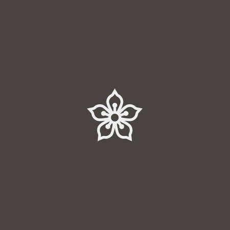 white sign on a black background. simple vector outline line art iconic sign of abstract five-petal flower
