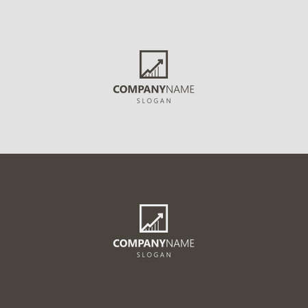 black and white simple vector geometric line art iconic logo of growing up arrow graphic in square frame