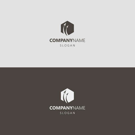 black and white simple vector negative space hexagon iconic logo of two curved up arrows